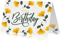 Geburtstagskarte Gelbe Blumen 'Happy Birthday'