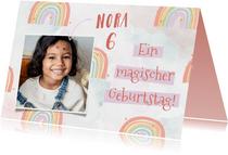 Geburtstagskarte Kind bunte Regenbogen