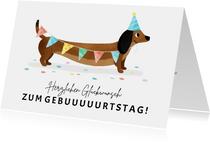 Geburtstagskarte lustiger Dackel mit Fähnchen