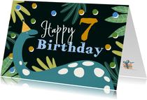 Geburtstagskarte mit Dino und Konfetti