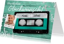 Geburtstagskarte Musikkassette mit Foto