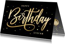 Geburtstagskarte schwarz-gold 'Happy Birthday'