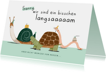 Geburtstagskarte Zu spät Schnecke, Schildkröte & Wurm