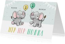 Geburtstagskarte Zwilling Kleine Elefanten