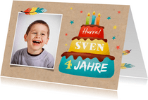 Geburtstsagskarte Foto und Torte