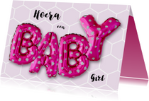 Gefeliciteerd baby ballonnen roze