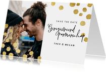 Geregistreerd partnerschap kerstkaart gouden confetti & foto