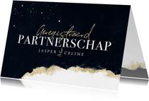 Geregistreerd partnerschap stijlvol verf goud hartjes inkt