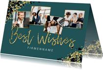 Geschäftliche Weihnachtskarte Fotocollage mit Goldeffekt