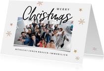 Geschäftliche Weihnachtskarte großes Foto & Schneeflocken