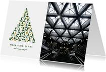 Geschäftliche Weihnachtskarte mit Foto und Weihnachtsbaum