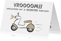 Geslaagd kaart voor rijbewijs scooter, vroom!!