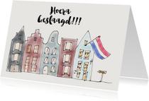 Geslaagd kaartje Huis met Vlag