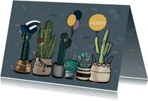 Gezellige carnavalskaart met cactussen in optocht
