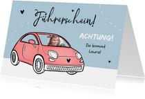 Glückwunschkarte Führerschein Foto rosa Auto