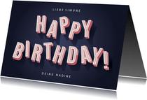 Glückwunschkarte Geburtstag 3D Buchstaben