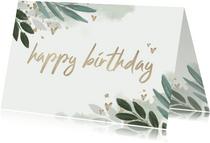 Glückwunschkarte Geburtstag botanisch mit goldenen Herzen