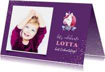 Glückwunschkarte Geburtstag Mädchen Einhorn lila