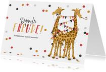 Glückwunschkarte Giraffen rot Zwilling doppelte Freude