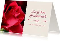 Glückwunschkarte Hochzeitsjubiläum rote Rose