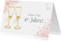 Glückwunschkarte Hochzeitstag Champagnergläser