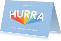 Glückwunschkarte Hurra in Regenbogenfarben