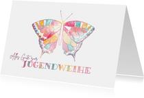 Glückwunschkarte Jugendweihe bunter Schmetterling
