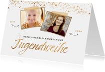 Glückwunschkarte Jugendweihe zwei Fotos