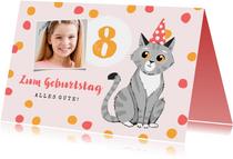 Glückwunschkarte Kinder Geburtstag Foto und lustige Katze