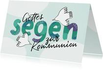 Glückwunschkarte Kommunion Tauben und Lettering