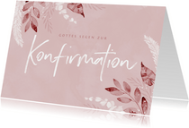 Glückwunschkarte Konfirmation rosa Blätter
