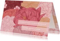 Glückwunschkarte mit gezeichneten Blüten