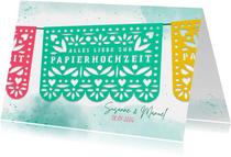 Glückwunschkarte Papierhochzeit Fiesta Girlande
