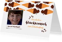 Glückwunschkarte Schulanfang Foto & braune Schultüten