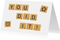 Glückwunschkarte 'You did it' Scrabble