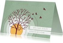 Glückwunschkarte zum Abitur Baum und Vögel