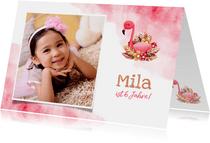 Glückwunschkarte zum Geburtstag mit Flamingo