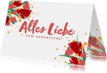Glückwunschkarte zum Geburtstag rote Blumen