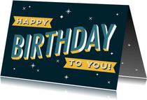 Glückwunschkarte zum Geburtstag Typografie blau