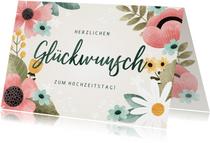 Glückwunschkarte zum Hochzeitstag Blumen