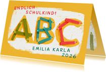 Glückwunschkarte zur Einschulung ABC Buntstifte