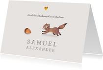 Glückwunschkarte zur Geburt Eichhörnchen