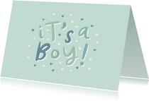 Glückwunschkarte zur Geburt 'it's a boy!' grün