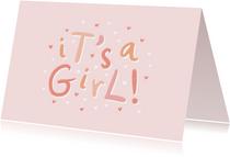 Glückwunschkarte zur Geburt 'it's a girl!' rosa