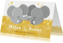 Glückwunschkarte zur Geburt von Zwilling Elefanten neutral