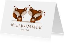 Glückwunschkarte zur Geburt Zwillinge Fuchskinder