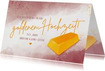 Glückwunschkarte zur goldenen Hochzeit Goldbarren