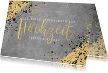 Glückwunschkarte zur Hochzeit Beton und Goldlook