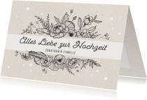 Glückwunschkarte zur Hochzeit Blumengesteck