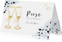 Glückwunschkarte zur Hochzeit mit Champagnergläsern